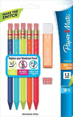 Papermate Pencil Mechanical Mates 1.3mm Plus Leads & Erasers Pack-5