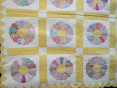 VINTAGE ANTIQUE QUILT Dresden Plate 1930'S  NEVER USED EXPERTLY HAND QUILTED