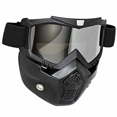 Motorcycle Silver Lens Riding Protective Helmet Face Mask with Goggles Shield AU
