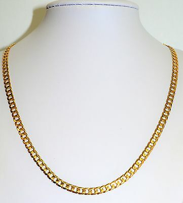 "Solid 9k Yellow Gold Bevelled Curb Chain 53CM 21"" 5mm Wide Mens Ladies #741639"
