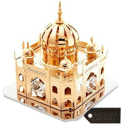 24K Gold Plated Beautiful Mosque Table Top Made with Genuine Matashi Crystals
