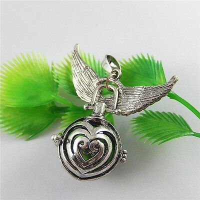 Antique Style Brass Made Silver Angel Caller Mexican Bola Ball Necklace Pendant