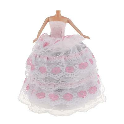 Pink & White Lace Charm Gown Dress Wedding Parties Fashion Gift for Barbie Dolls