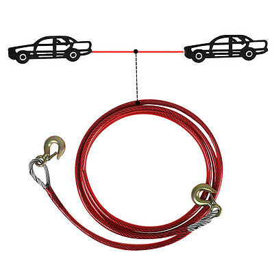 5 Tonne 4M Tow Car Ropes Heavy Duty Pull Steel Wire Van Road Recovery Hook