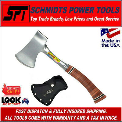 """Estwing E24A 14"""" Sportmans Camping Axe With Leather Grip & Sheath - Brand New"""