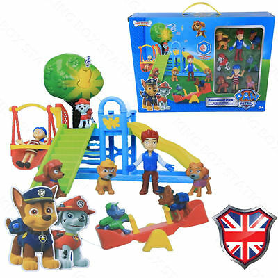 8 PCS Chase Rubble Katie Ryder Figures PAW PATROL Park Playground Gift Kids Toys