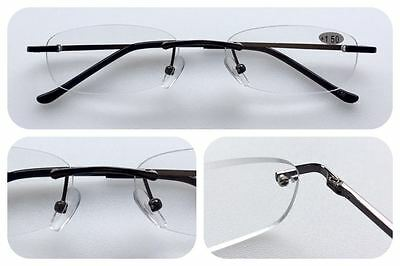 L283 Rimless Reading Glasses/Spring Hinges/Classic Smart Style Design/Unisex