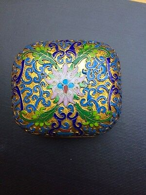 Superior quality Chinese antique cloisonne lidded pot with exposed brass base.