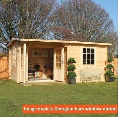4m x 3m Waltons Home Office Executive Log Cabin Double Glazed 44mm Georgian Bars