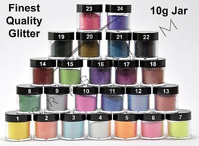 Nail Art Glitter Powder 24 Colors UV Gel Acrylic Tips Dust Sequin Decoration 10g