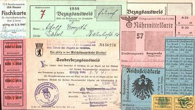 20+ DIFF RARE WW1/WW2 ERA GERMAN RATION STAMPS/TICKETS/STRIPS! The Hunger of War