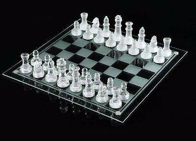 2 In1 Elegant 32 Piece Frosted Glass 25x25cm Chess/Checker Board Game Set Gift