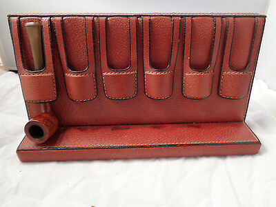 Rare Vintage Alfred Dunhill Pipe Rack Red Leather, 6 Weighted Slots 1950's/ 60S