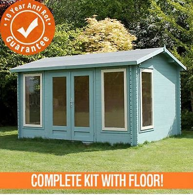 4m x 3m Director Log Cabin Double Door Garden Single Glazed 44mm