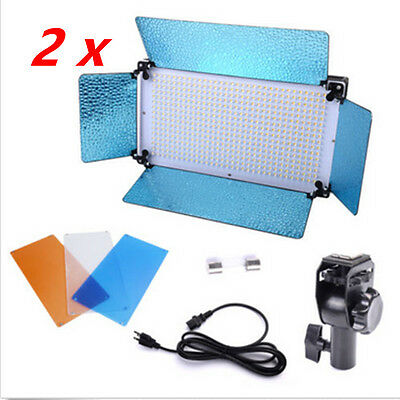 2x500 Portable LED Panel Video Studio Portrait Light Dimmer Photography Lighting