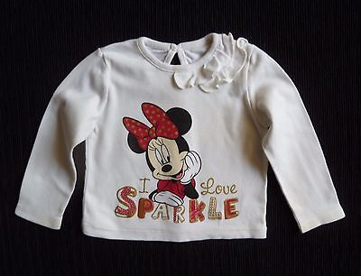 Baby clothes GIRL 6-9m Disney Minnie Mouse cream/red/gold long sleev top/t-shirt