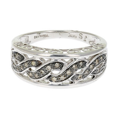0.15 CT Champagne Diamond Ring 14K White Gold in Size 7
