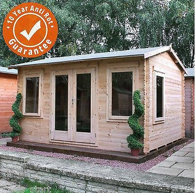 4m x 3m Bridgeford Garden Log Cabin Double Door Loglap Building Georgian Bars