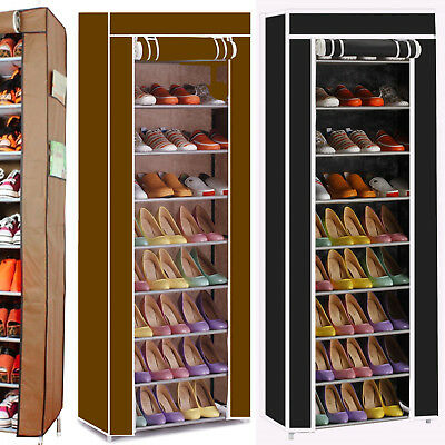 Dustproof 10 Tier Shoes Cabinet Storage Organiser Shoe Rack Stand Holds 27 Pairs