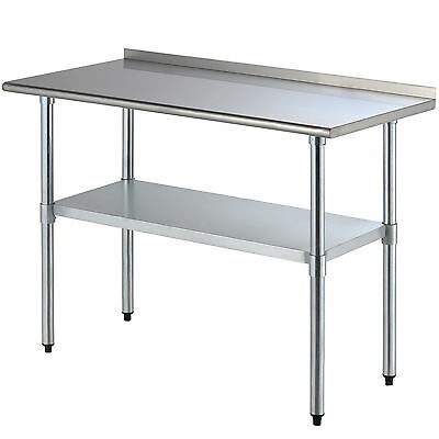 "Stainless Steel Work Prep Table Kitchen Restaurant Storage Shelf 24"" x 48"""