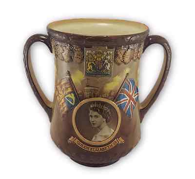 Large Royal Doulton Two-handled Loving Cup 'Queen Elizabeth II'