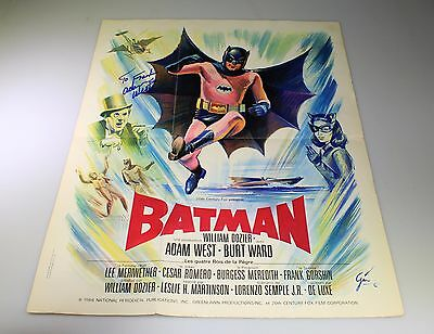 Nice Original 1966 Batman French Poster Signed By Adam West