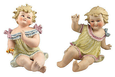 Beautiful Large Pair of German Bisque Porcelain Piano Babies