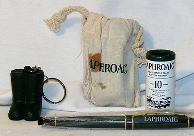 NEW 4 Lot LAPHROAIG Scotch Whisky Matches Boot Keychain Pen & 3 Stone Ice Cubes