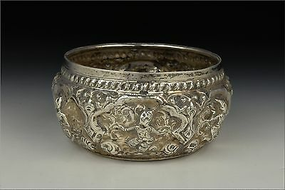 19th Century Burmese Silver Bowl w/ Relief Characters