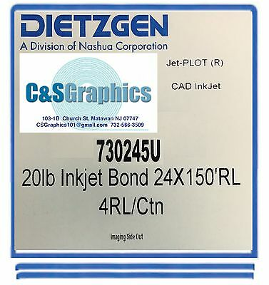 "40 Rolls 24""x150' 20lb Bond HP DesignJet Plotter Paper 2"" core 92 Bright white"