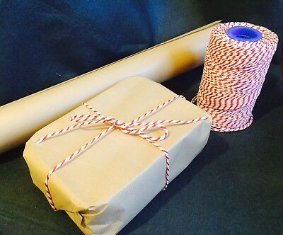 10 Metres Bakers Twine 2 Ply - Red And White - String - Christmas