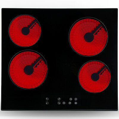 23 inch 6000W 4 Burner Ceramic Cooktop Touch Control Timer Electric Hob Stove