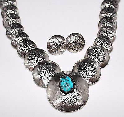 NAVAJO Sterling Double Sided Stamped CONCHO Turquoise Necklace & Earrings Set