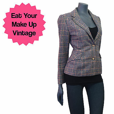 Vintage 1970s Pure Wool Blue Plaid Check Fitted Tailored Blazer Jacket Pockets 1