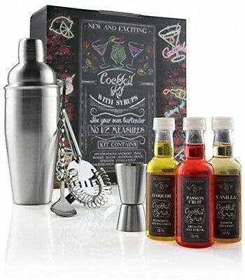 Cocktail Maker Kit Gift Set Including 750ml Drink shaker Mixer and 3 syrups