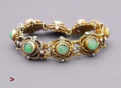 Antique Bohemian Austro -  Hungarian Bracelet 12ct Emeralds Seed Pearls
