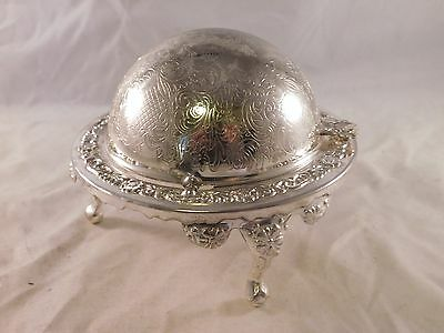 Vintage Silver Plated Made In England Deco Footed Ashtray (N11)