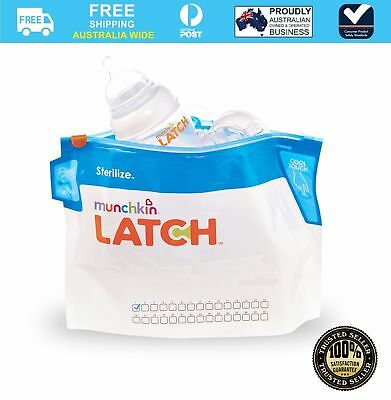 Munchkin  Convenient Microwave Latch Sterilize Bags 6 PACK (180 Uses)