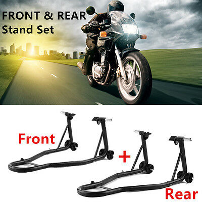 Universal Front And Rear Paddock Stands Set Motorcycle Motorbike Lift Repair Pit