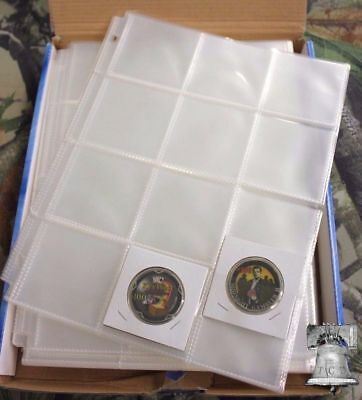 10x 12 Pocket Pages 2.5 x 2.5 GUARDHOUSE Archival Crown Coin Holders Stickers