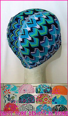 Adults LYCRA SWIMMING CAP - BLUE PATTERNED Design Gorgeous Swim Hat ADULT  NEW