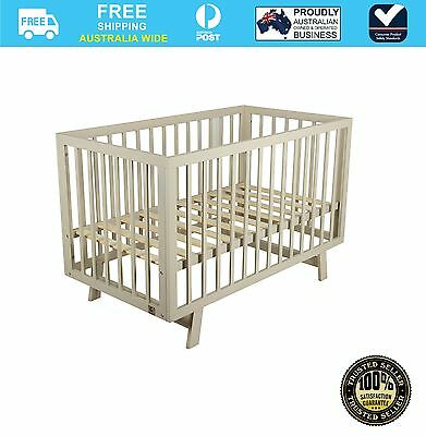 NEW Bebecare Baby Toddler Timber Cot Bed Euro Grey #`091010-019