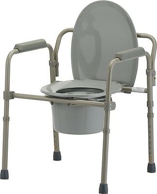 Toilet Chair Seat Folding Bedside Commode Bucket Safety Frame Sturdy Portable