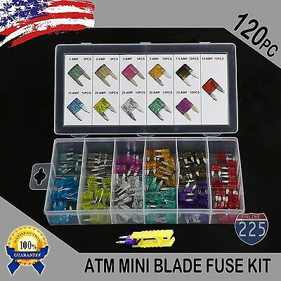 120 Pack MINI Blade Fuse Assortment Auto Car Motorcycle SUV FUSES Kit APM ATM US