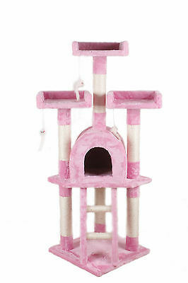 New Cat Tree Scratching Post Scratch Activity Centre Bed Toys Scratcher Pink