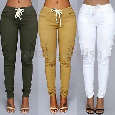 AU Womens High Waisted Drawstring Long Skinny Pencil Stretch Fit Pants Trousers