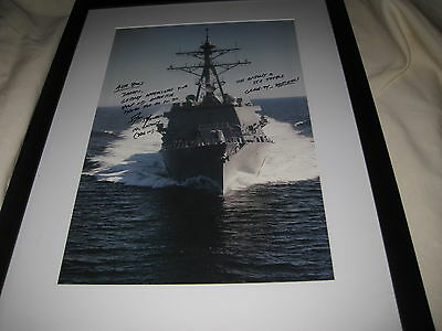 "USS Gridley DDG-101 11.5"" x 17.5"" Sea Trials Print Signed CO Shinego to Air Boss"