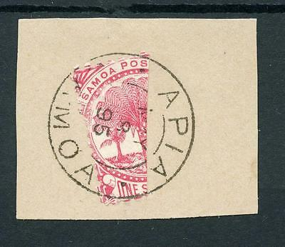 Samoa 1886-90 1s bisected on piece CDS May 8 1895