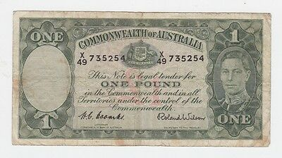 One Pound Paper Banknote Commonwealth of Australia Coombs Wilson I-201