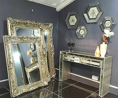 Large Silver Rectangular Mirror Antique Style Gilt Shabby Chic Large 5,4,3 FT